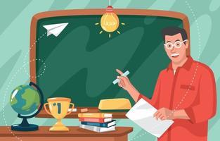 professor com fundo de lousa e papelaria escolar vetor