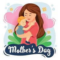 feliz dia das mães segurando uma criança vetor
