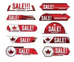 design de tag de promoção de banner vermelho de venda para marketing vetor