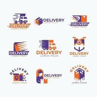 conjunto de logotipo expresso de entrega vetor