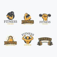conjunto de logotipo de ginásio em casa vetor
