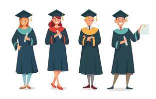 conjunto de personagem estudante de graduação vetor