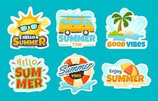 conjunto de adesivos de verão vetor