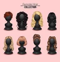 coleção de manequim de cabelo feminino vetor