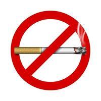 Sinal de proibição de fumar 3D com cigarro, ilustração vetorial vetor