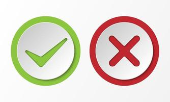 sinal correto e incorreto, marca de seleção estilo 3d, ilustração vetorial vetor