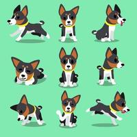 conjunto de poses de cachorro basenji de personagem de desenho animado vetor