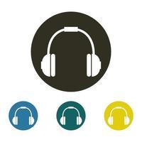 ícone de fones de ouvido no fundo branco vetor