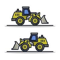 ícone de escavadeira em fundo branco vetor