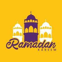 Ramadan Kareem celebração saudação texto com mesquita e lua. vetor