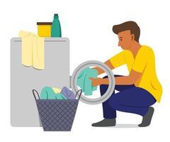 homem lava as roupas com máquina de lavar. vetor