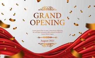 grande inauguração luxo vintage caro com clássico 3d cortina de pano de seda de fita para cerimônia elegante com fundo branco e modelo de banner de pôster de confete dourado vetor
