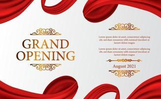 grande inauguração luxo vintage caro com clássico 3d cortina de pano de seda de fita para cerimônia elegante com fundo branco e modelo de banner de pôster dourado vetor