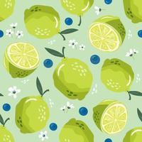 padrão sem emenda de verão com limão e flor. fundo doce vetor