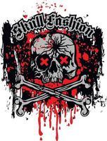 sinal gótico com caveira e ossos, camisetas com design vintage grunge vetor