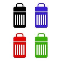 ícone de lata de lixo em fundo branco vetor
