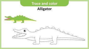 traço e crocodilo da cor vetor