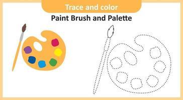 traço e pincel de cor e paleta vetor
