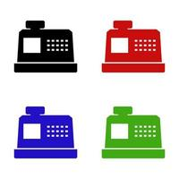 ícone de caixa registradora em fundo branco vetor