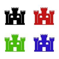 ícone do castelo em fundo branco vetor