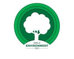 papel do dia do meio ambiente mundial com árvore vetor