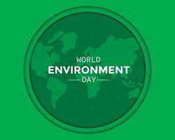 dia mundial do meio ambiente com mapa mundial vetor