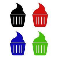 ícone de cupcake em fundo branco vetor