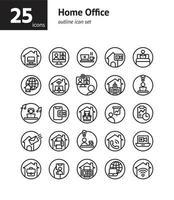 conjunto de ícones de contorno de escritório em casa. vetor