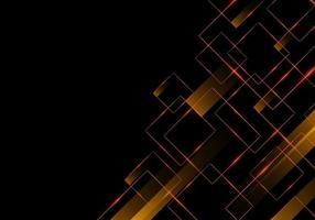 abstrato geométrico quadrado vermelho brilhante e listras com luz brilhante no conceito de tecnologia de fundo preto
