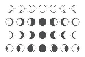 fase lunar do vetor do projeto da forma do círculo simples da lua isolado no fundo branco.