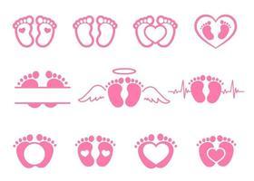 o desenho vetorial de pegadas de bebês recém-nascidos com formato de coração deixa espaço para adicionar texto. vetor
