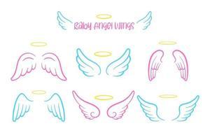design de asas de anjo e bonito anel de cabeça para crianças. isolado em fundo branco