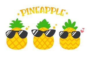 desenho animado abacaxi usando óculos escuros no verão, isolado no fundo branco vetor