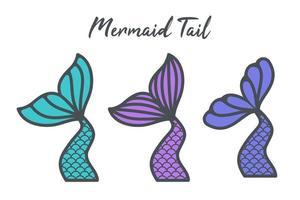 cauda de sereia vetorial com design de escalas de arco-íris para meninas isoladas em fundo branco vetor