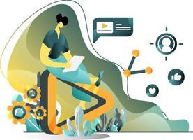 conceito de ilustração plana de marketing de vídeo de homens criando anúncios de vídeo em tablets, perfeitos para páginas de destino, modelos, interface do usuário, web, aplicativo móvel, cartazes, banners, folhetos. vetor