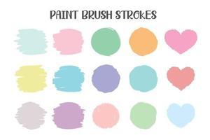 pincel de cor que foi pintado em várias formas e molduras de texto. vetor