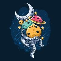 astronauta carregando planetas vetor