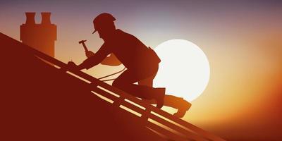 um carpinteiro trabalhando em um telhado vetor