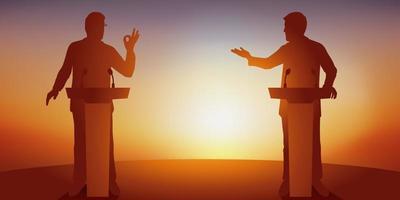debate entre dois políticos vetor