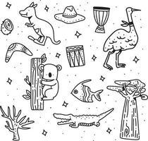 estilo austrália doodle. estilo de desenho austrália vetor