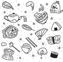 estilo de doodle de comida de japão. estilo de desenho de mão. vetor