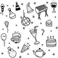 estilo de doodle de festa. estilo de desenho de festa vetor