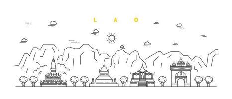 lao city. vetor de paisagem moderna linha plana. ilustração da arte linha da cidade com edifício e templo. ilustração vetorial.