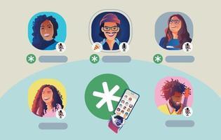 conceito de rede social com perfis de usuário vetor