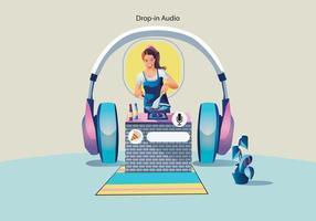 mulher usando fones de ouvido. conceito de mídia social vetor