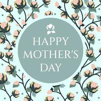 floral elegante cartão feliz dia das mães. delicado fundo natural para uma capa, banner de saudação ou panfleto para mulheres. ilustração vetorial plana vetor