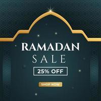 desenho de bandeira de venda do ramadã. mídia social postar modelo com fundo islâmico. ilustração vetorial. vetor
