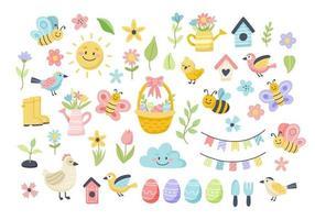 Primavera de Páscoa com ovos bonitos, pássaros, abelhas, borboletas. mão desenhada elementos de desenhos animados planos. ilustração vetorial vetor