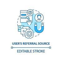 ícone de conceito azul da fonte de referência do usuário vetor