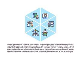 ícones de linha de conceito de tipos de eventos virtuais com texto vetor